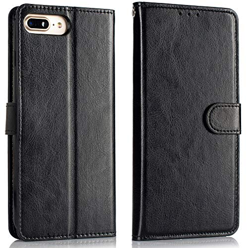 Alkax for iPhone 7 Plus Case Wallet,iPhone 8 Plus Case with Card Slot Holder Kickstand Luxury PU LeatherFlip Folio Protective Cover Magnetic Shockproof for Apple iPhone 7 Plus/8 Plus and Stylus -Black