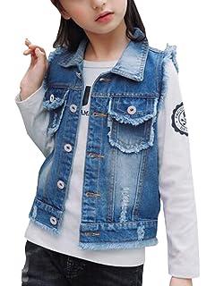 b6fbdf2318b00 MYtodo Solid Color Girl Vest Burr Cowboy Vest Children Cardigan Jacket