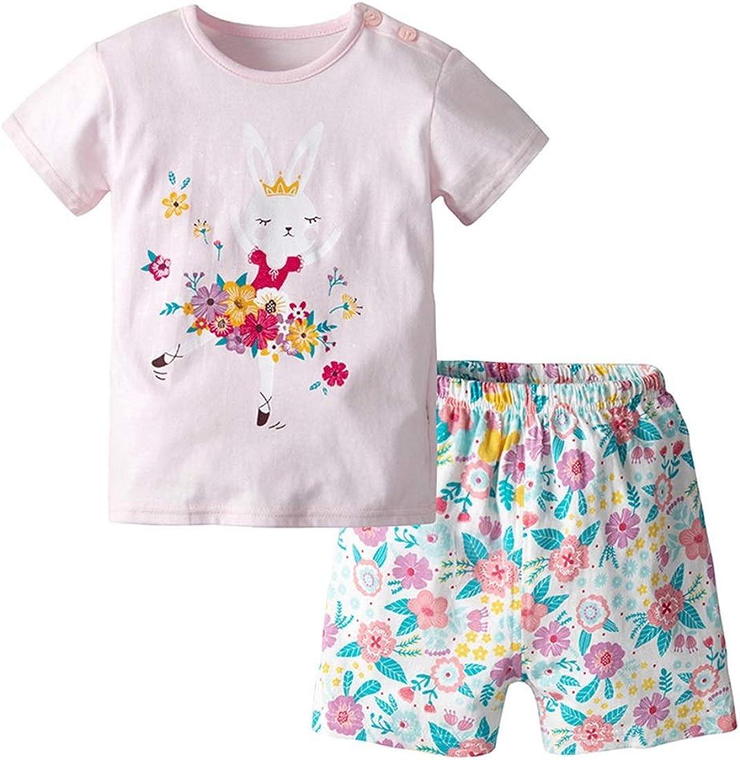 XINXINHAIHE Baby Boy Girl Set T-Shirt+Shorts 2pcs Outfits Cotton Cartoon Summer Tops