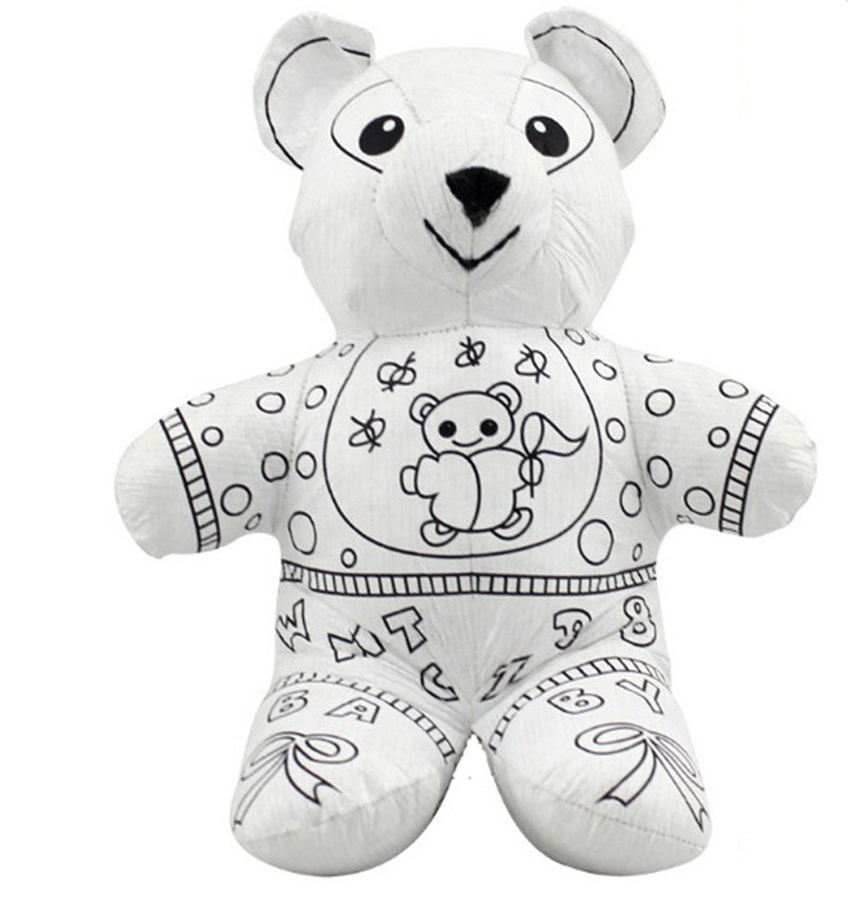 Brittany Stuffed Animal, Buy Yzakka Paintable Toys Draw On Stuffed Animal Drawing Supplies For Kids With Color Pens Bear Online At Low Prices In India Amazon In