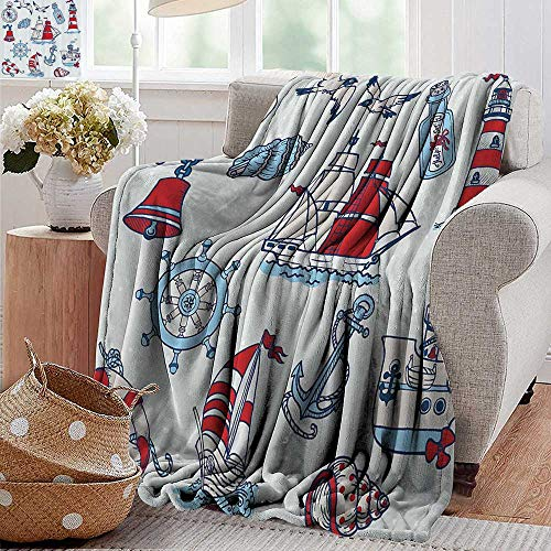 Throw blanket,Nautical Decor,Symbolic Sea Creatures Navigation Gulls Compass Kids Cute Holiday Shell Water Rope Design,Blue Red,Sofa Super Soft, Plush, Fuzzy Microfiber Throw Reversible,Comfy 35