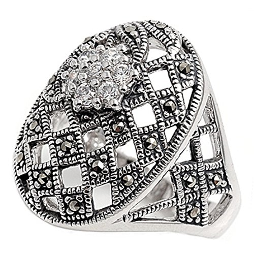 Sterling Silver Marcasite Flower (Oval Simulated Marcasite Flower Cluster Vintage Style Ring Sterling Silver Size 8)