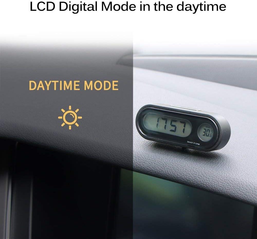 AeeKing Car Clock Car Digital Clock with Thermometer Mini Vehicle Dashboard Clock Car Digital Clock Thermometer Durable and Creative