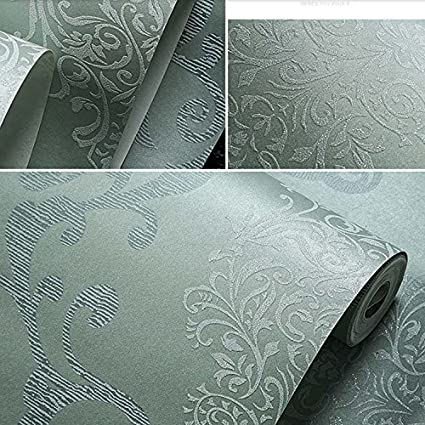 Rollo de papel pintado estilo europeo lujoso en 3D damasco perla polvo sin tejido para sala de estar y habitaci/ón azul claro 0.53m 32.8L 57 sq.ft x 10m 1.73 W =5.3m2