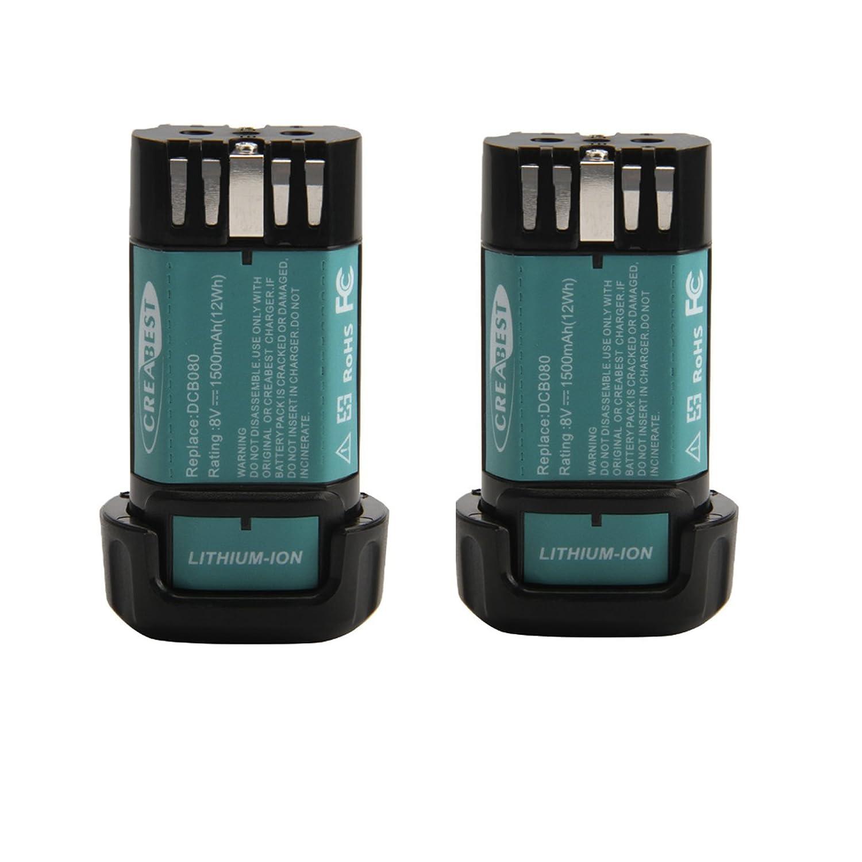 Creabest New 2Packs 1500mAh 8-Volt Battery Compatible with DEWALT DCB080 DW4390 DCF680N1 DCF680N2 DCF680G2 Li-ion Battery