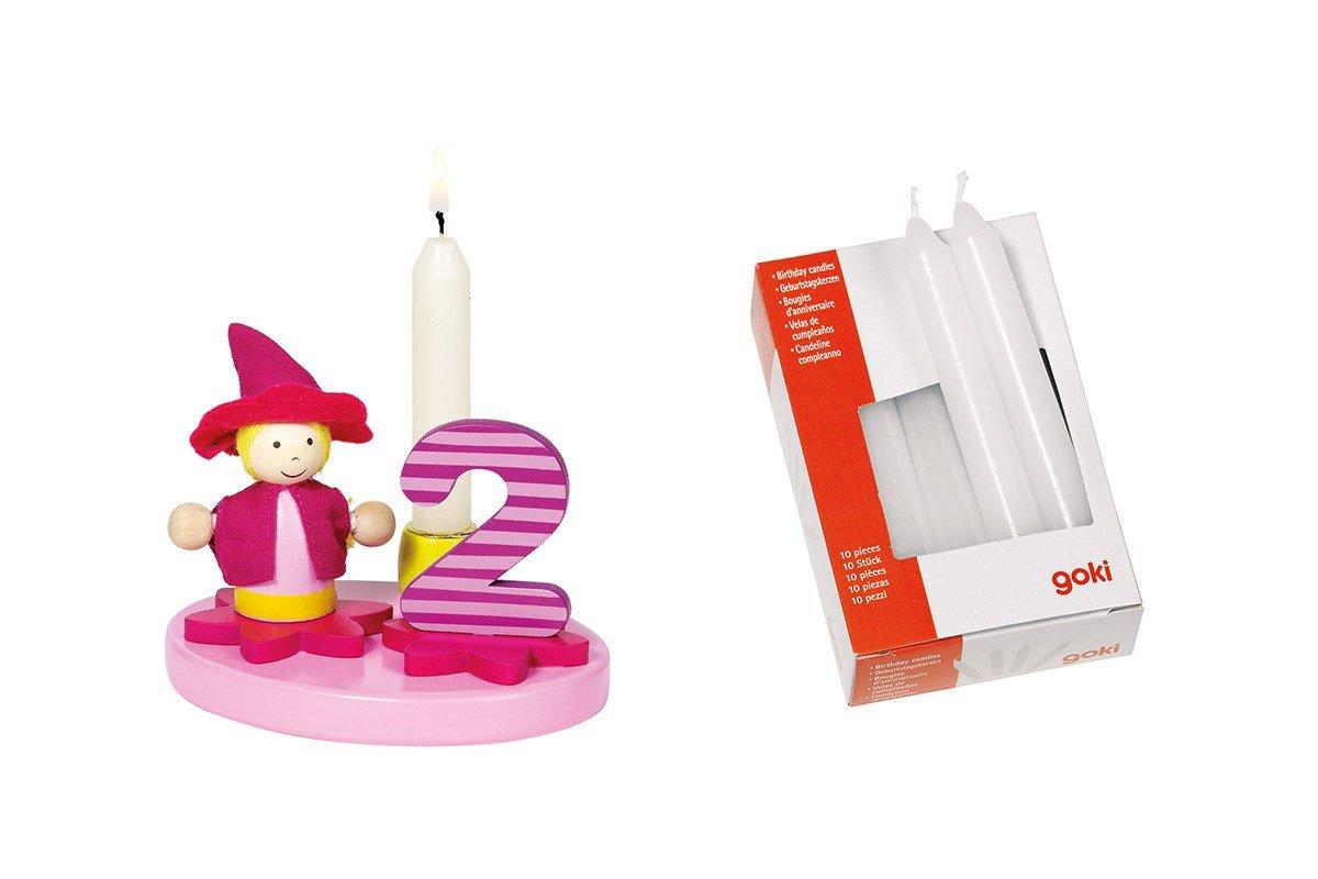 Geburtstagskind Mädchen mit Zahlen 0-9 inkl. 10 Kerzen Goki
