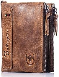 Mens Wallet RFID Blocking Minimalist Vintage Genuine Cowhide Leather Wallet for Men