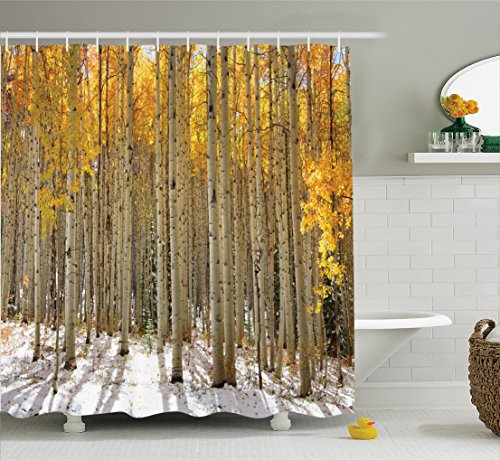 Ambesonne Farm House Decor Collection, Aspen Trees with Golden Leaves in Snow, Forest in Early Winter Time Landscape, Polyester Fabric Bathroom Shower Curtain, 75 Inches Long, Gold White (Aspen Christmas Tree)