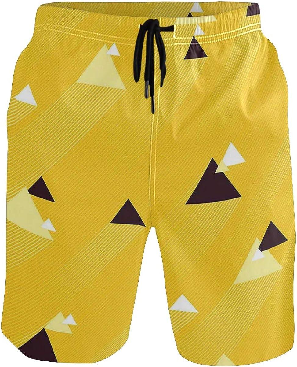 COVASA Mens Summer ShortsBig and Small Diagonal Triangles with Stripes Geometr