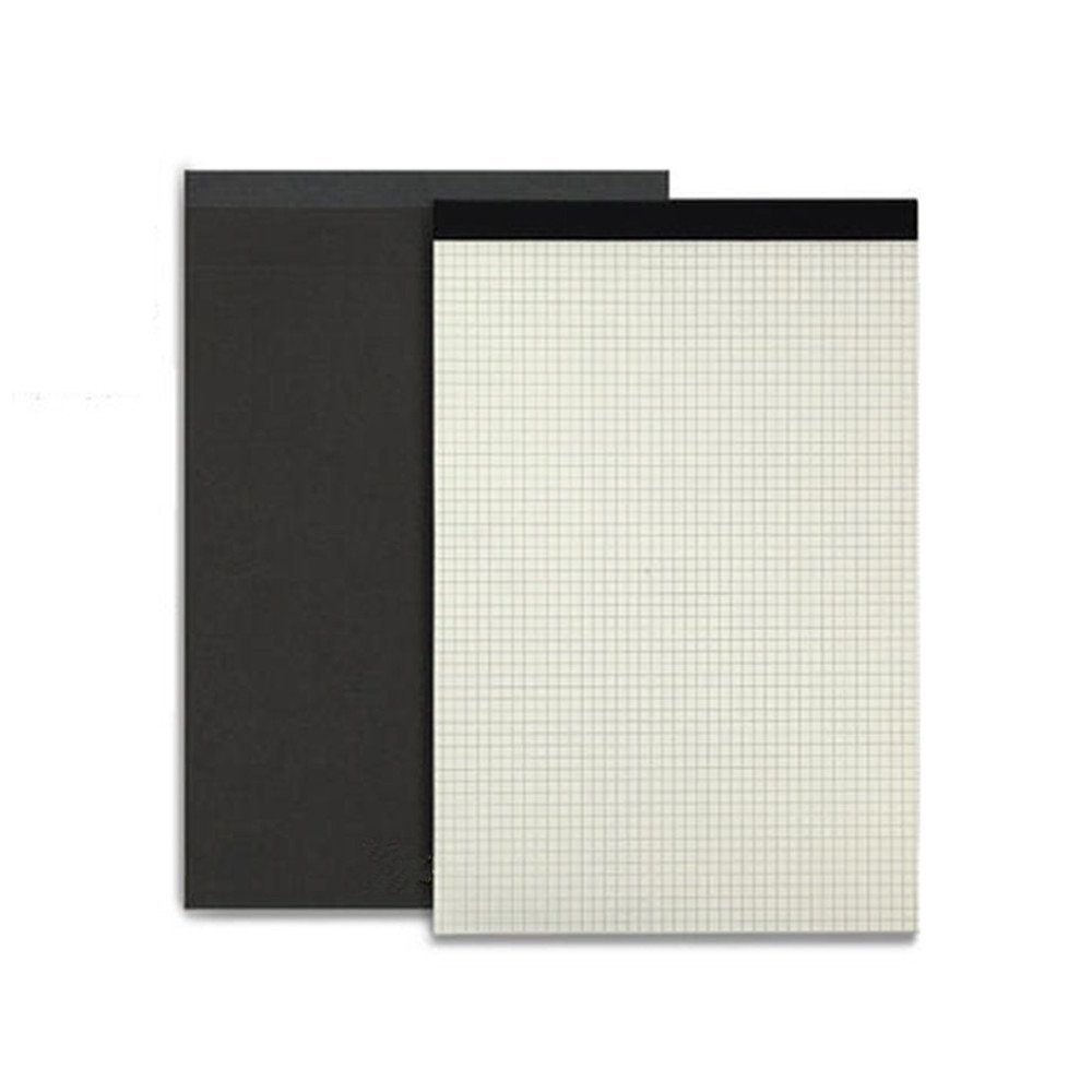 GardenHelper Legal Pad Writing Pads, Pad Plain Squared Pages with Black Kraft Hardcover, 80 Sheets (Grid pages, A4(8.3x11.7 Inches))