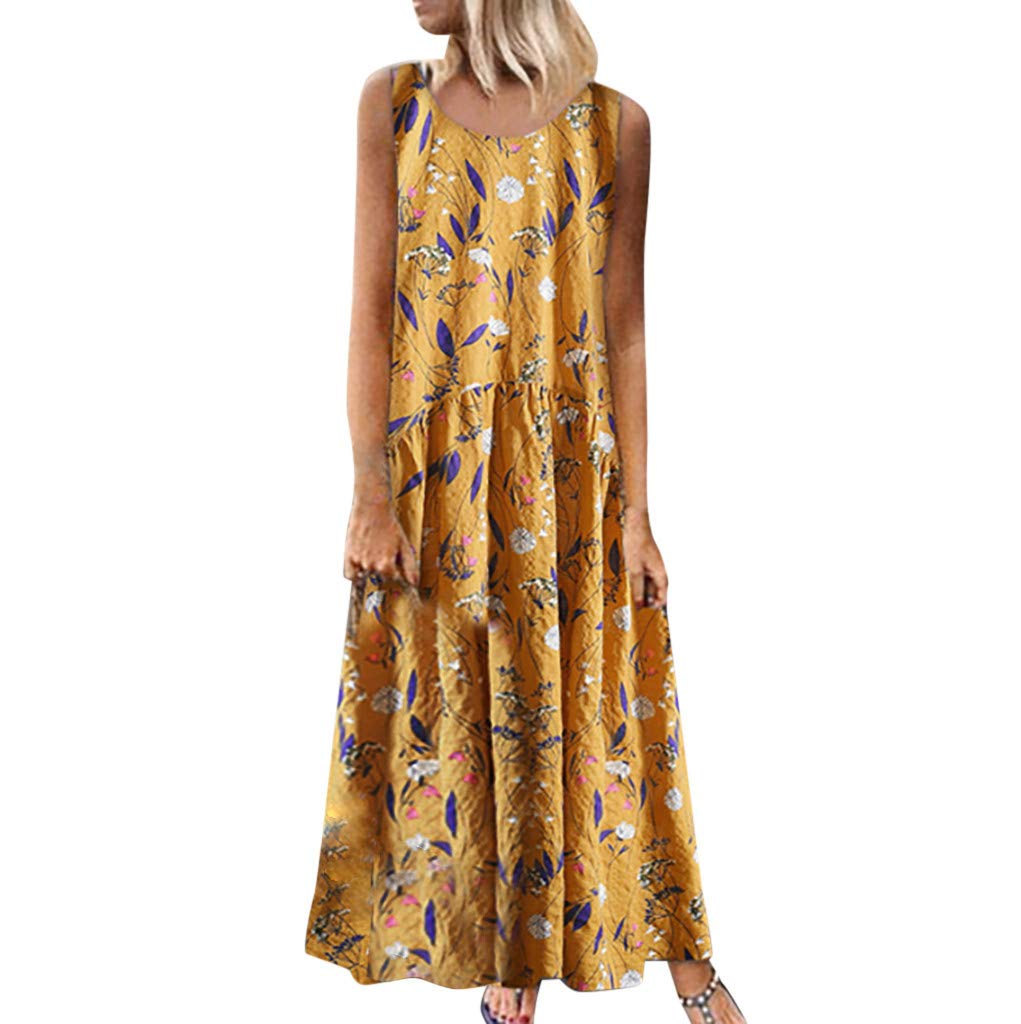 Women Summer Dress, Qingell Women Plus Size Bohe O-Neck Floral Print Vintage Sleeveless Long Maxi Dress Yellow
