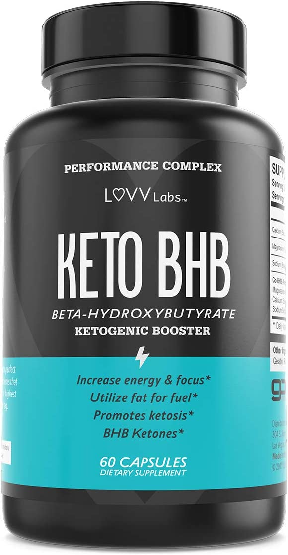LUVV BHB Salt Keto Pills Exogenous Ketones – Ketosis Support Supplement – Use Fat for Fuel Manage Cravings on Ketogenic Diet – 60 Capsules