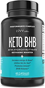 LUVV BHB Salt Keto Pills Exogenous Ketones - Ketosis Support Supplement - Use Fat for Fuel & Manage Cravings on Ketogenic Diet - 60 Capsules
