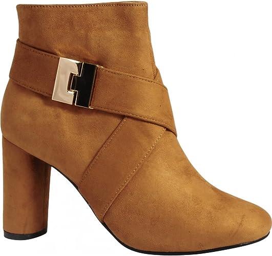 Womens Tan Brown Fashion Gold Buckle