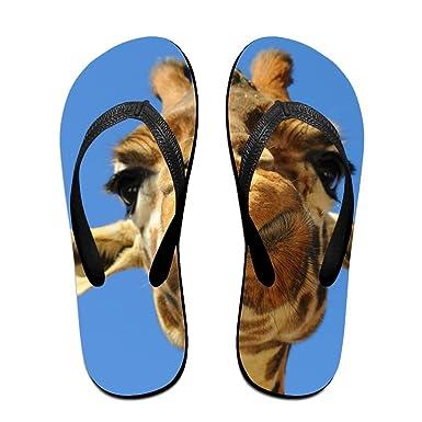Couple Flip Flops Funny Giraffe Print Chic Sandals Slipper Rubber Non-Slip Beach Thong Slippers
