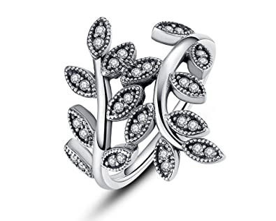 Dixey Luxury Anillos Anillos 925 Sterling Silver Sparkling LEAVES SILVER RING WITH CUBIC ZIRCONIA (6