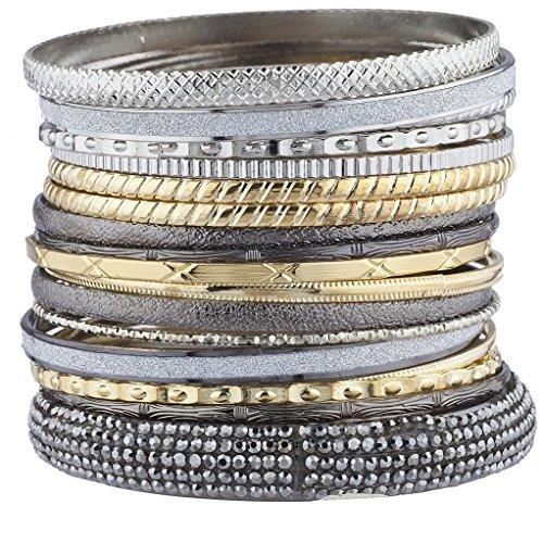 Mixed Bangle Set (Lux Accessories Tri Mixed Metal Texture Sticker Glitter Bangle Bracelet Set 20PC)