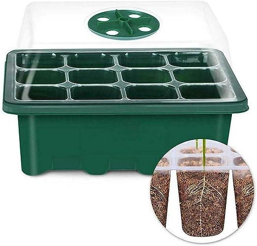 Caja de cultivo de semillas de plantas de 12 agujeros para vivero de inicio, bandeja de jardín: Amazon.es: Hogar