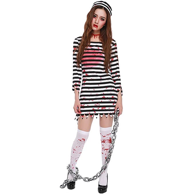 Amazon.com: Halloween Scary Bloody disfraz de Preso Mujer ...