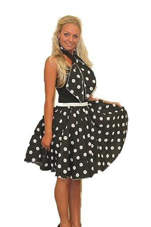 "Ladies 26/"" Black /& White Polka Dot Rockerbilly Skirt /& Necktie Fancy Dress"
