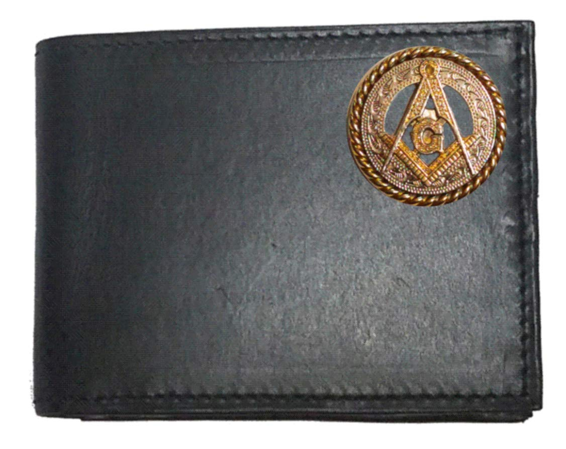 Custom Masonic Square and Compasses Concho on a Black Harness Leather Flip ID Bi-fold Wallet. Proudly made in the USA.