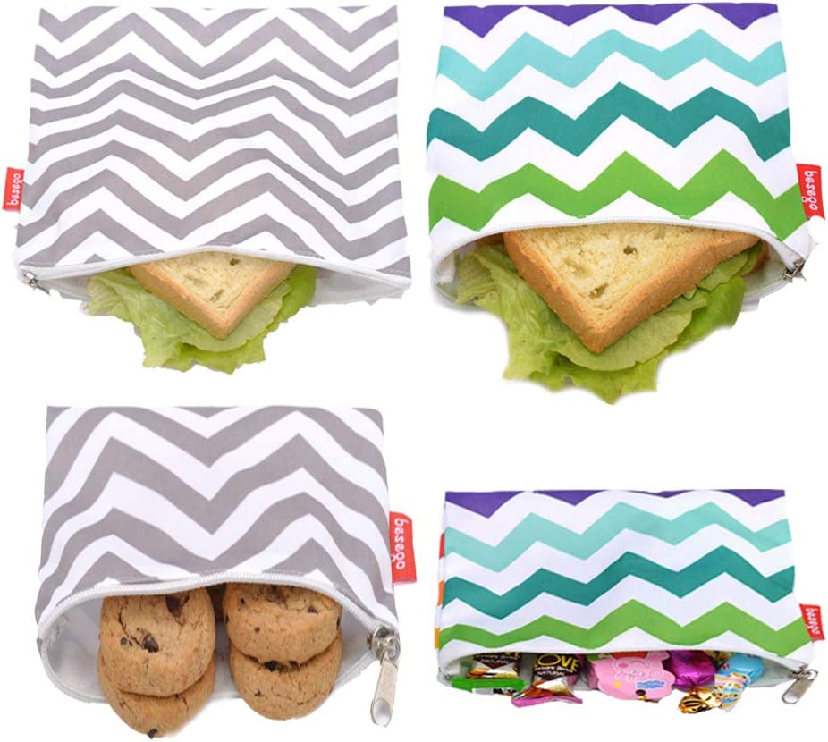 Reusable Sandwich Bags and Eco Friendly Kids Lunch Bags, Set of 4 Pack - Snack Bags for Food Storage, Safe and Washable (Color and Gray Chevron)