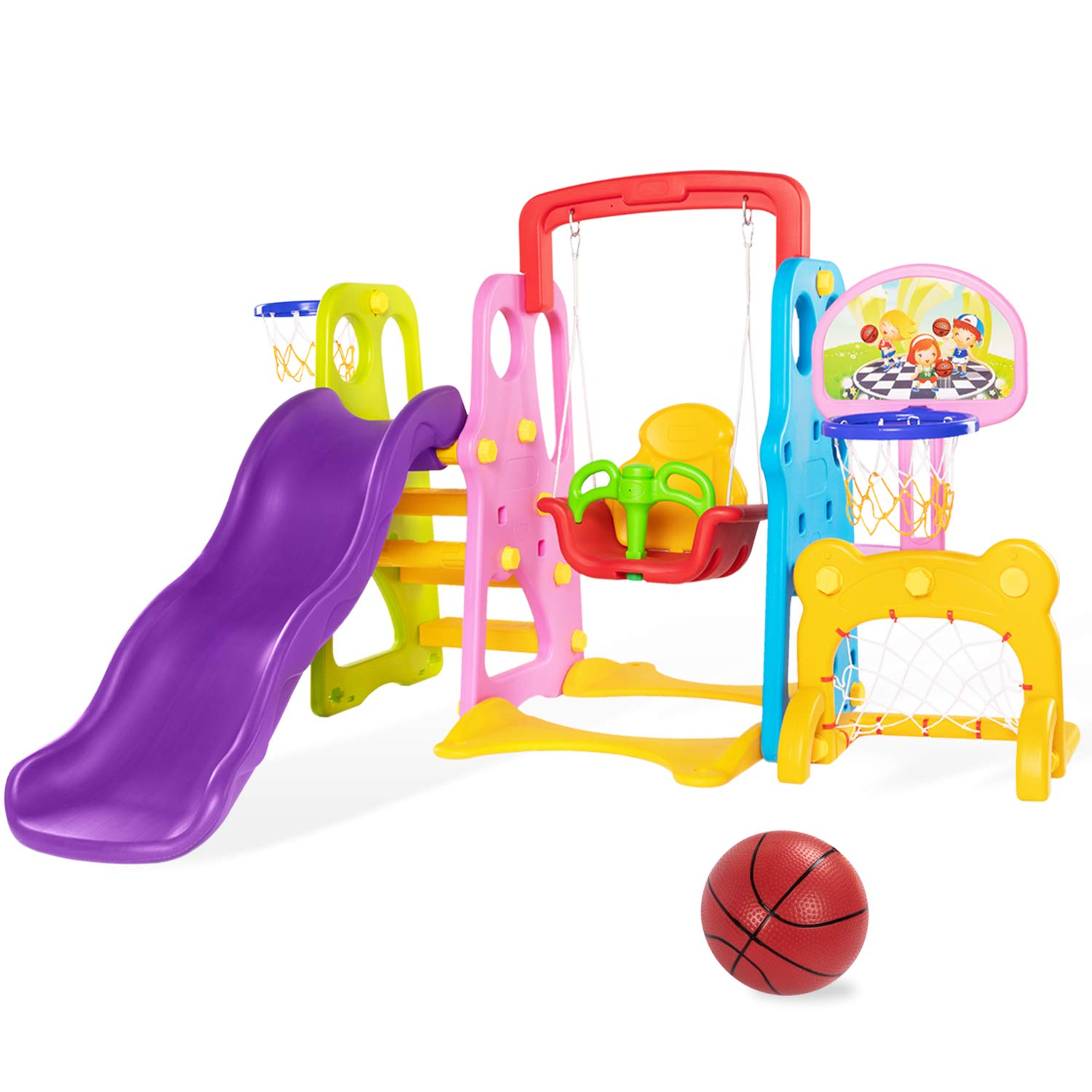 Lauraland Toddler Swing Set, 6 in 1 Climber Slide Playset with Two-Height Basketball Hoop, Soccer Goal, Baby Swing, Writing Board and Easy Climb Stairs, Kids Playset for Backyard and Indoor by Lauraland