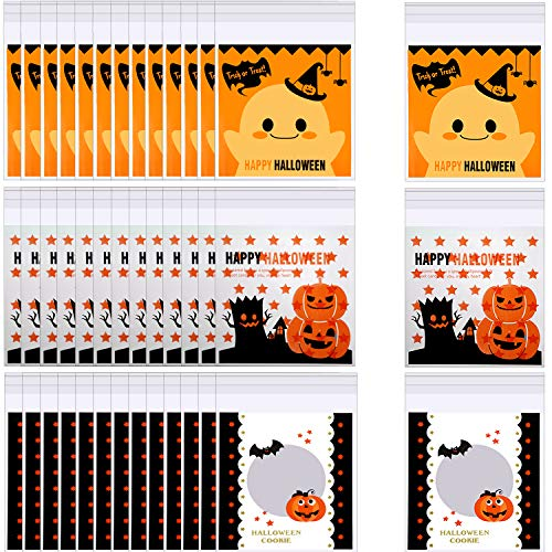 Halloween Treat Bag Tags (300 Pieces Halloween Candy Bags Self Adhesive Treat Bag Plastic Clear Candy Cookie Bags for Halloween Party Gift Supplies,3)