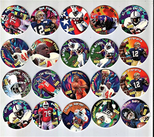 20 VINTAGE 1991 FOOTBALL POGS..ALL DIFFERENT....MANY ROOKIES,,SCARCE AND HARD TO FIND FROM THIS ERA