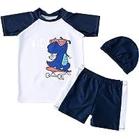 Bañador para Niño de Dos Pieza Estampado Dinosaurio Traje de Baño Camiseta Manga Corta + Pantalón Corto para Playa…