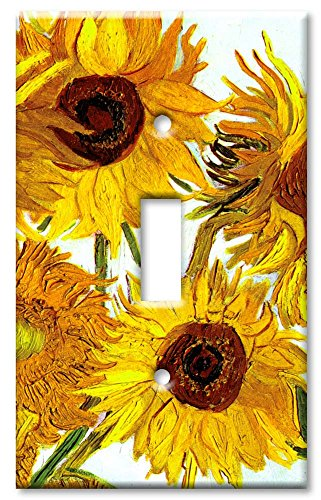 Sunflower Toggle - Art Plates - Single Gang Toggle OVERSIZE Switch Plate/OVER SIZE Wall Plate - Van Gogh: Sunflowers