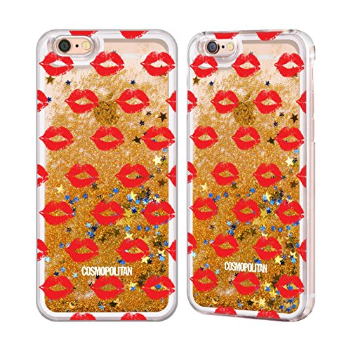 Official Cosmopolitan Red Kiss Mark Gold Liquid Glitter Case Cover for Apple iPhone 6 / 6s