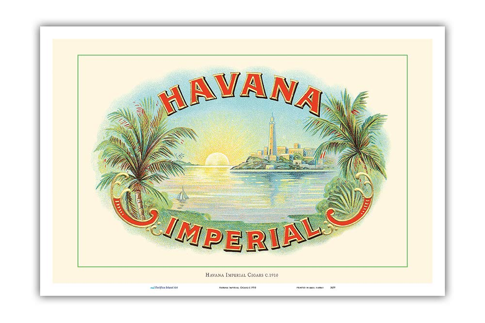 12in x 18in Vintage Cigar Box Label c.1910 Master Art Print Pacifica Island Art Havana Imperial Cigars