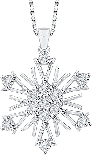 KATARINA Prong Set Diamond Snow Flake Pendant Necklace in Sterling Silver 1//10 cttw, J-K, SI2-I1