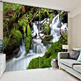 LB 2 Panels Room Darkening Thermal Insulated Blackout Window Curtains,The Falls of the Mountains 3D Effect Print Living Room Bedroom Window Drapes,142 Inch Width by 108 Inch Length