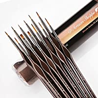 Detail Paint Brush Set 12pc Minute Series XII Miniature Brushes for Fine Detailing & Art Painting. Acrylic Watercolor Oil - Miniatures, Models, Airplane Kits, Nail