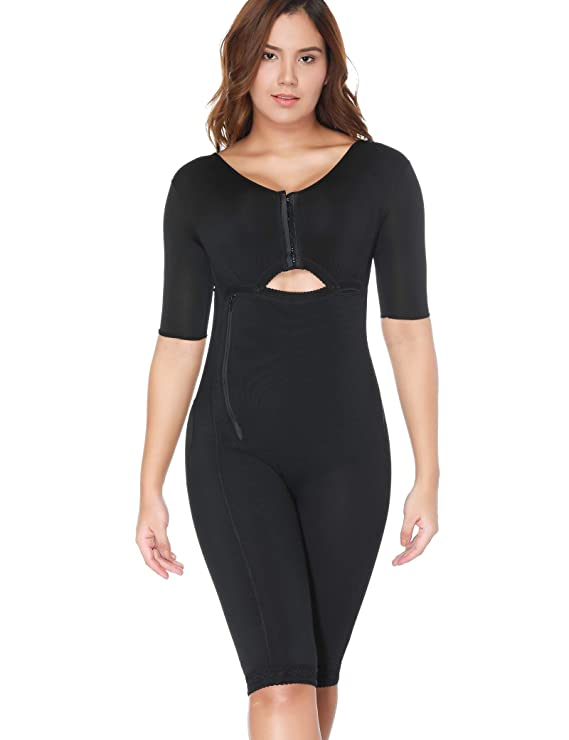 Women Shapewear Bodysuit Full Body Shaper with Sleeves 3 in 1 Post Surgery Firm Control Fajas Compression Garment Black