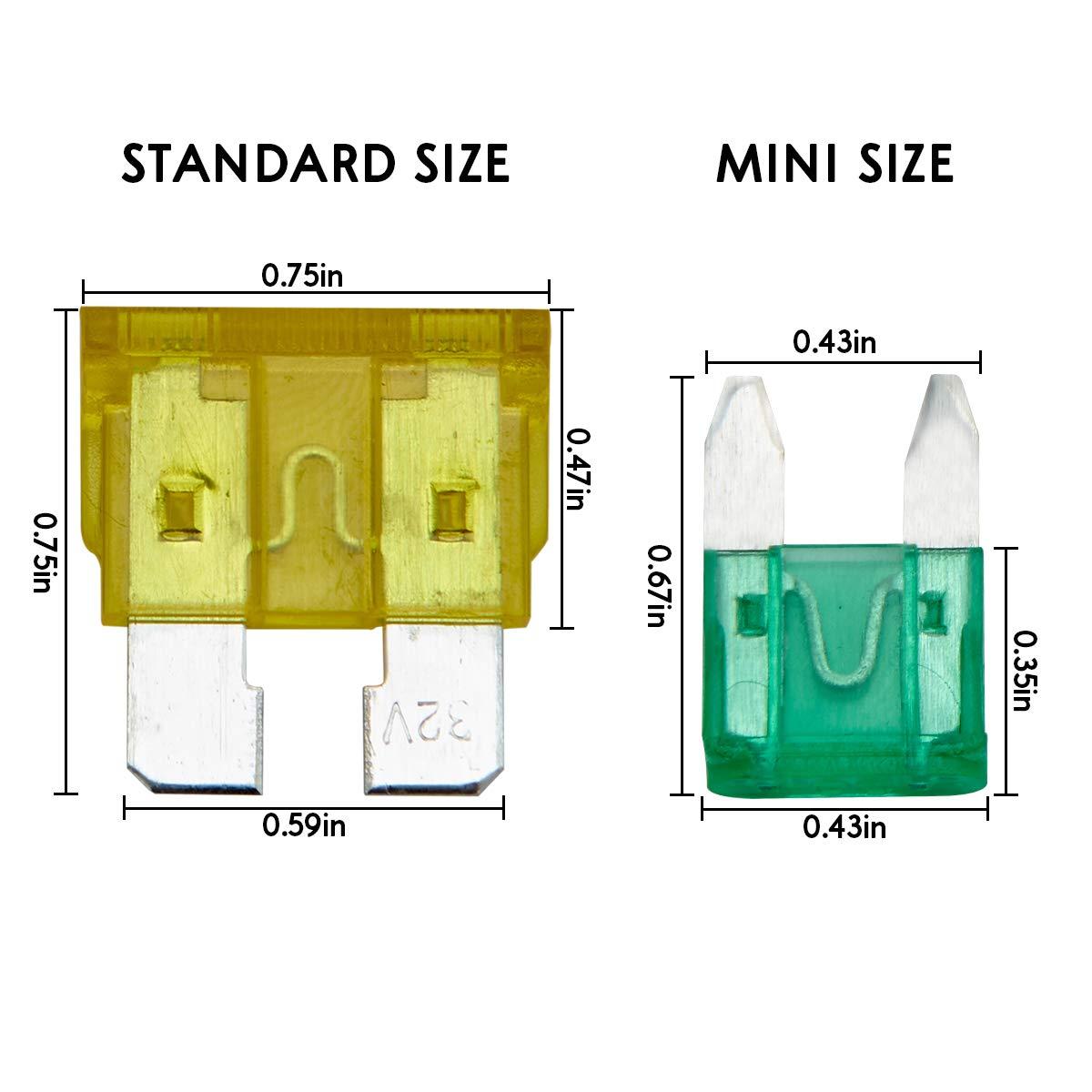 2A// 3A// 5A// 7.5A// 10A// 15A// 20A// 25A// 30A// 35A Deimcdy Car Fuse Kit 220pcs Car Fuses Assortment Standard /& Mini