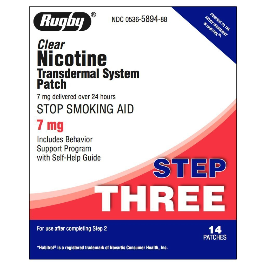Rugby Step 3 Clear Nicotine Transdermal System 7 mg 14 patches