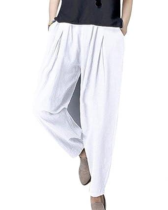 Pantalon De Loisirs Femme Taille Haute Large Couleur Unie Pantalon Sarouel Fashion  Elégante Confortable Décontracté Taille Élastique Basic Pantalon Ete ... d07f2cfc24e1