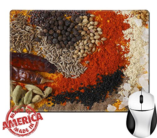 "Luxlady Natural Rubber Mouse Pad/Mat with Stitched Edges 9.8"" x 7.9"" IMAGE ID: 24189918 Asian curry spices in the centre black pepper coriander seeds black mustard cumin seeds around that dried chilli"