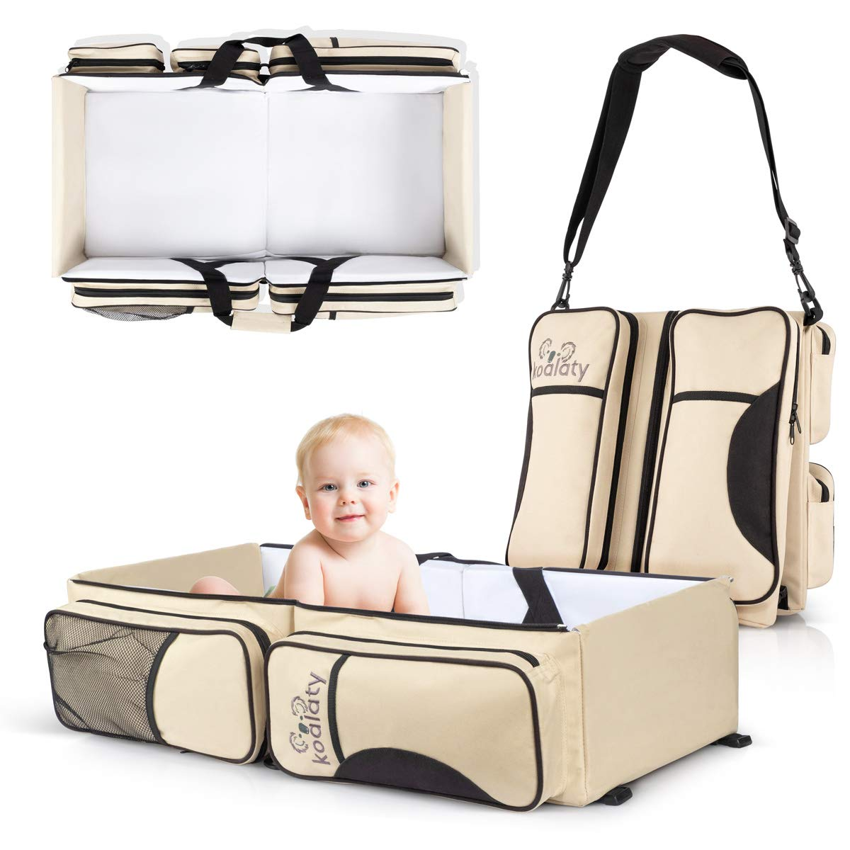 Koalaty 3-in-1 Universal Infant Travel Tote: Portable Bassinet Crib, Changing Station, and Diaper Bag for Newborns or Baby. The Best Baby Shower Gift for New mom and dad.