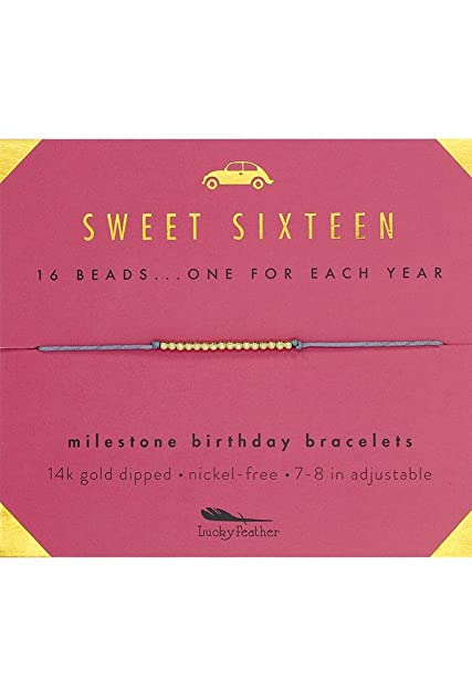Lucky Feather Sweet 16 Gold Tone Birthday Bracelet Gift For Year Old Girls With 14K