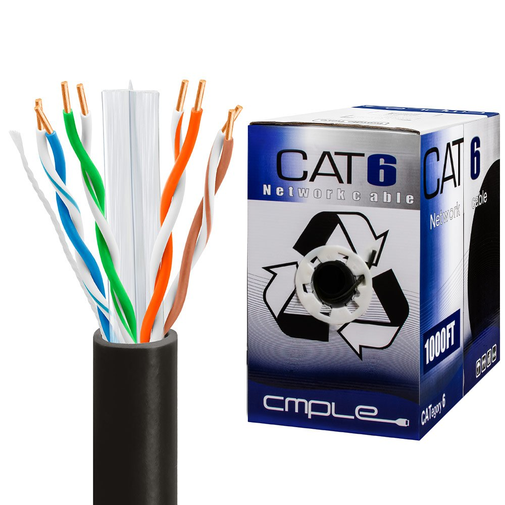 Cmple 1023-N - CAT6 BULK 23AWG ETHERNET LAN NETWORK CABLE - 1000 FT Black by Cmple