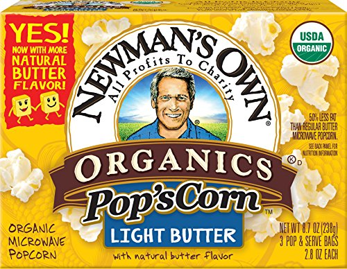 Newman's Own Organics Pop's Corn, Organic Microwave Popcorn, Light Butter, 2.8 Ounce each, 3-Count (Net Wt. 238g) (Pack of 12) (Light Butter Flavor)