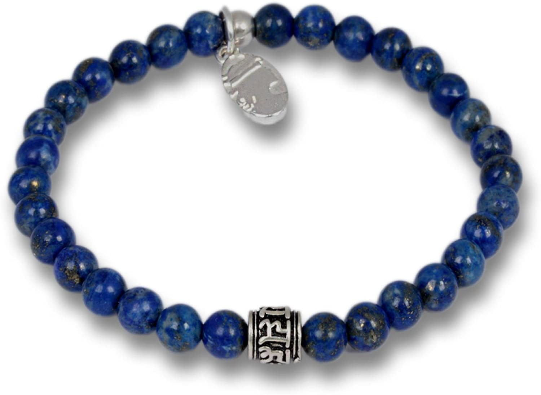 Anisch de la Cara Hombre Pulsera Little Lapis Lazuli - Pulsera de Piedras Preciosas con Cuentas de Mantra para Hombre con Plata de Ley, 6 mm Mantra Beads - Arte no 93360-f.1