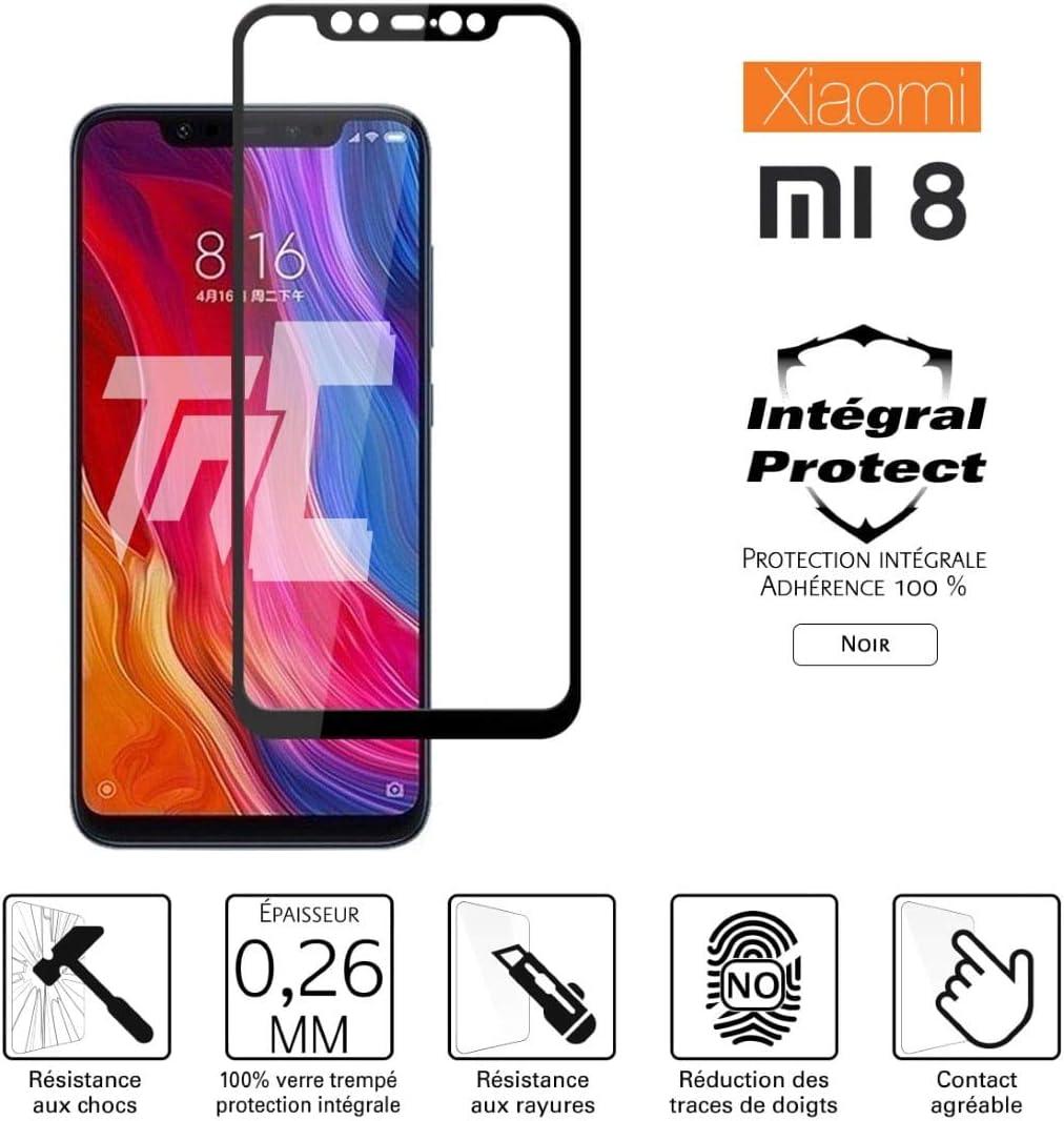 TM-Concept® Cristal Templado Integral Xiaomi Mi 8 - Negro - Integral Protect - Adhesión 100% (Nano-Silicona)
