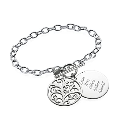 Filigree Family Tree of Life Bracelet in Sterling Silver - Custom Made & Personalised with any name ZEDZSsMdNR