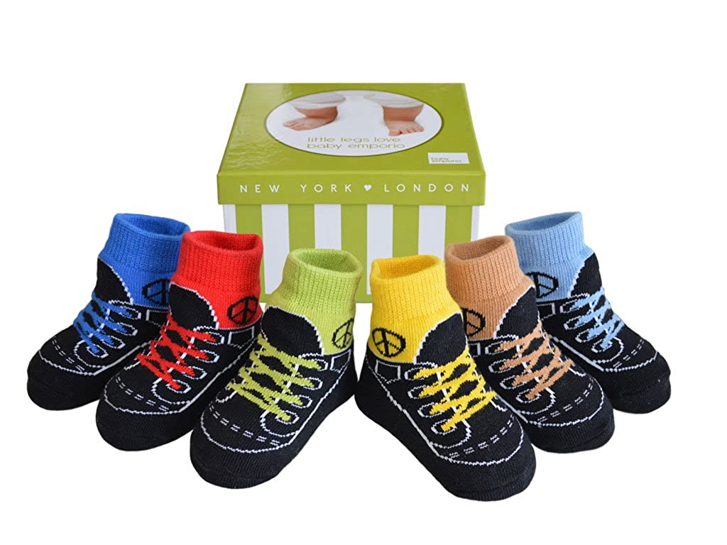 Baby Infant Toddler Boy Shoe Look Socks-Anti slip Soles - Soft Combed Cotton - 6 Pairs - Gift for newborn