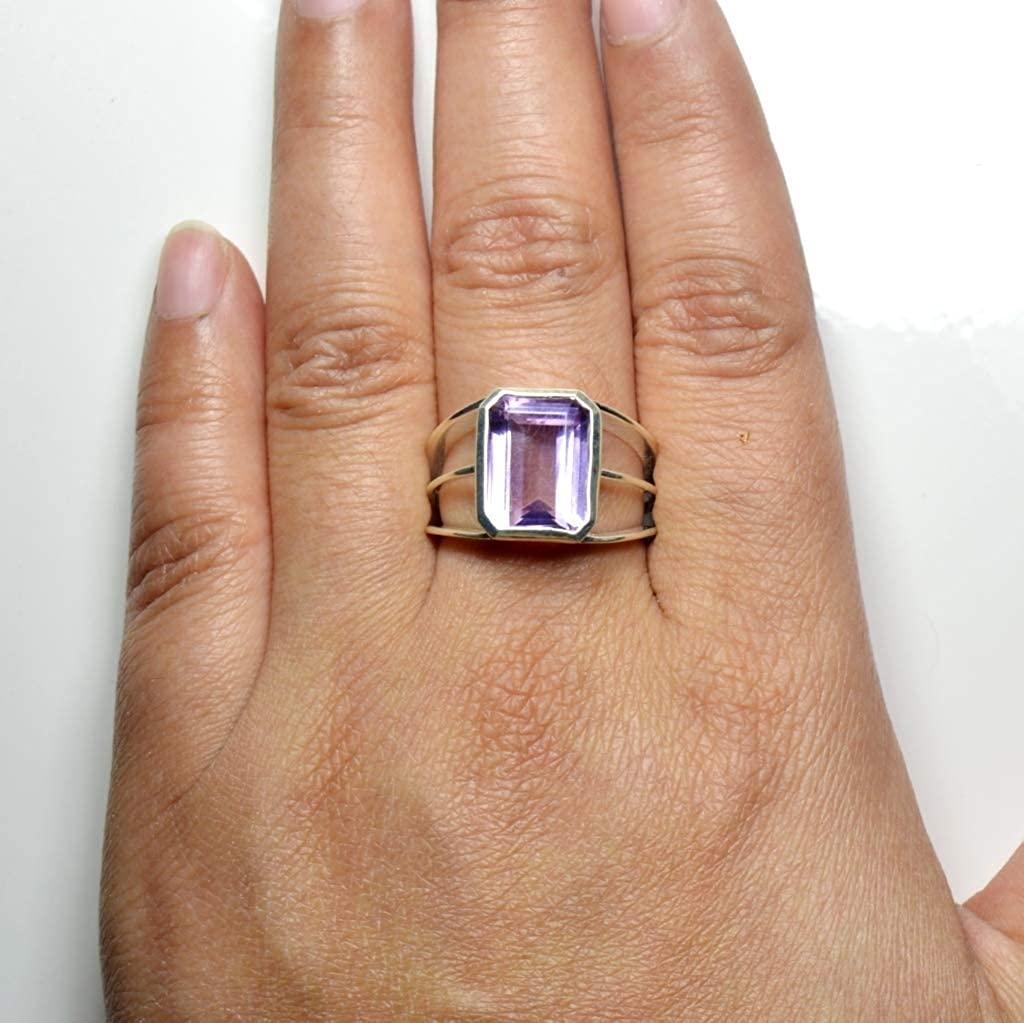 CaratYogi Natural Amethyst Rings Bezel Style for Birthday Gift Chakra Healing February Jewelry Size 4-13